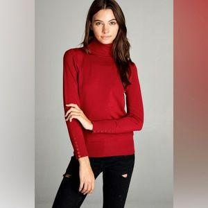 Sweaters - Basic Crimson Red Long Sleeve Turtleneck